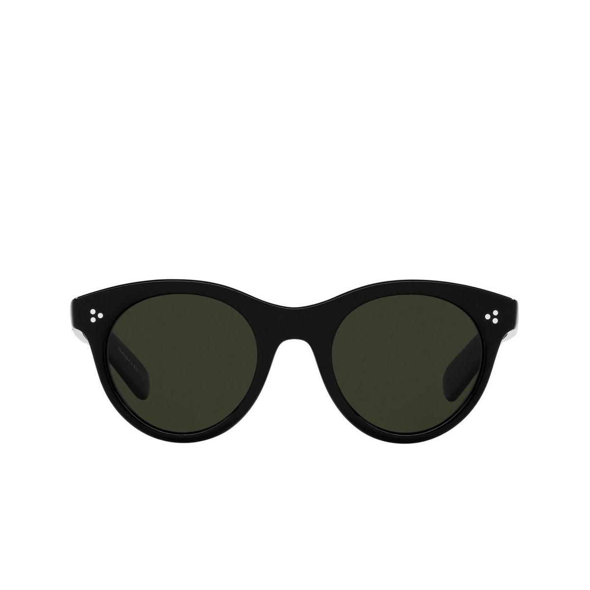 Oliver Peoples® Round Sunglasses: Merrivale OV5451SU color Black 1005P1 - front view.