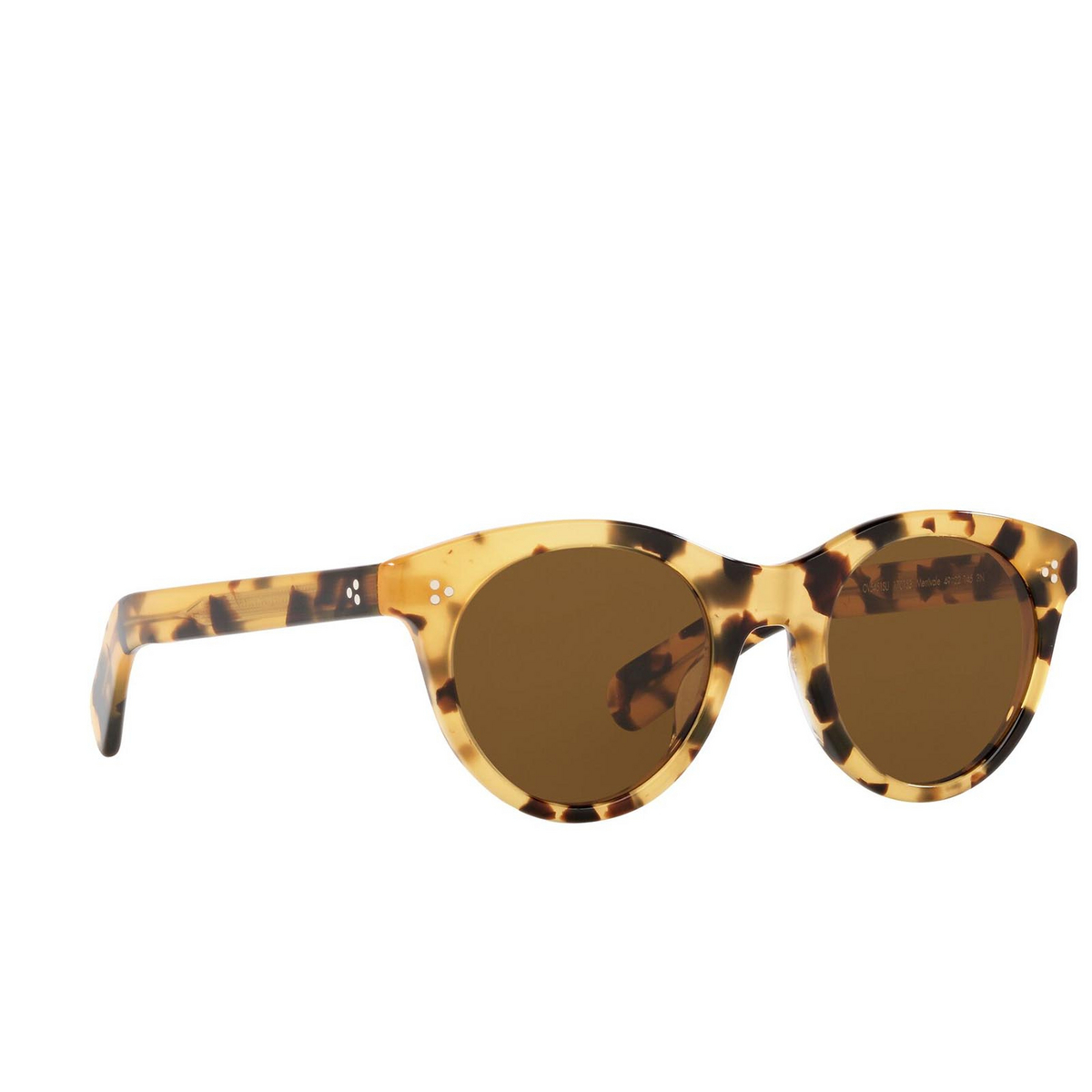 Oliver Peoples® Round Sunglasses: Merrivale OV5451SU color Ytb 170153 - three-quarters view.
