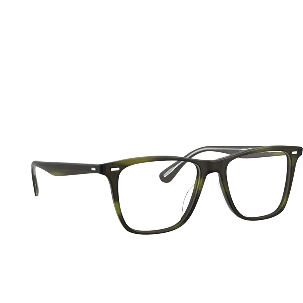 Oliver Peoples® Square Eyeglasses: Ollis OV5437U color Semi Matte Emerald Bark 1693 - three-quarters view.