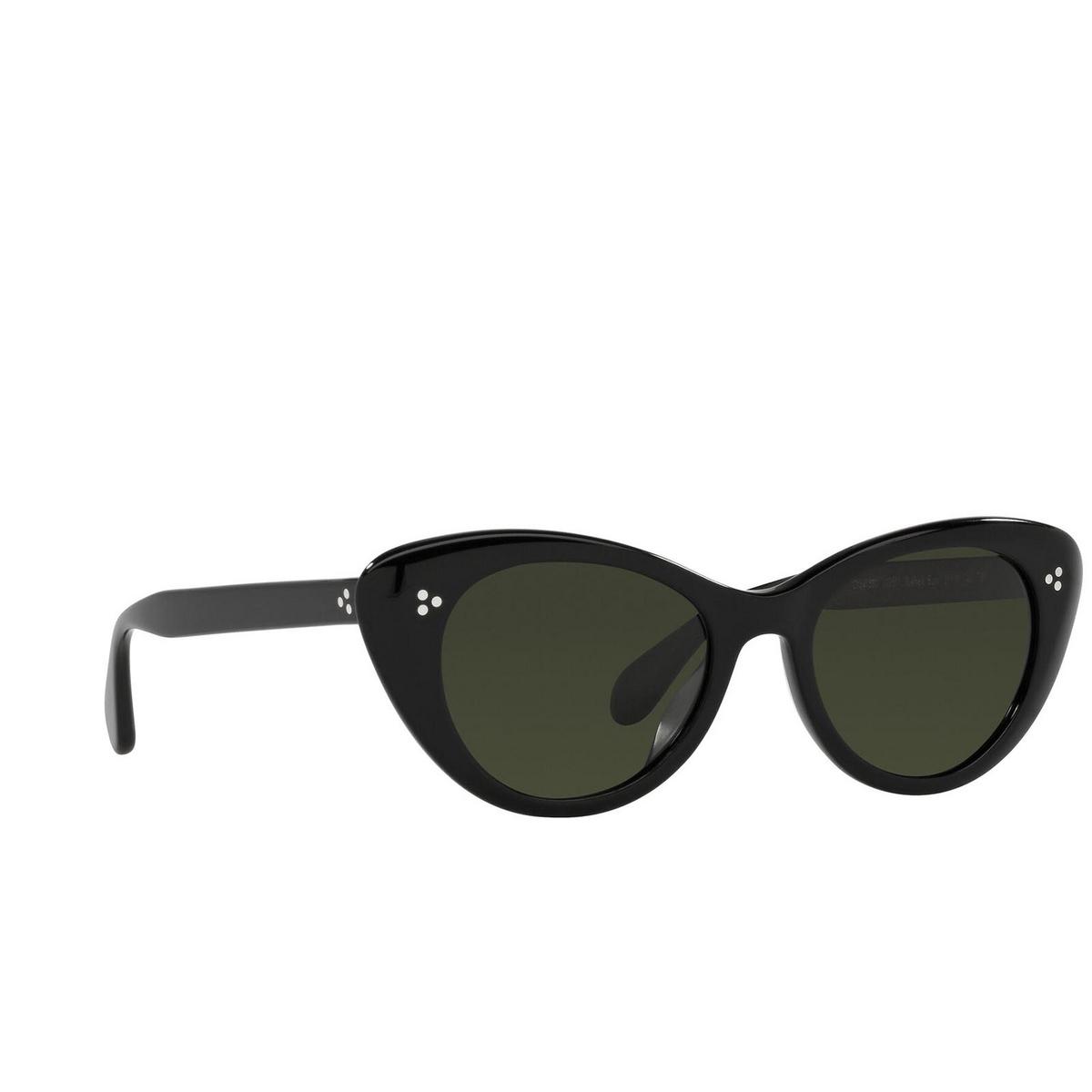 Oliver Peoples® Butterfly Sunglasses: Rishell Sun OV5415SU color Black 1005P1 - three-quarters view.