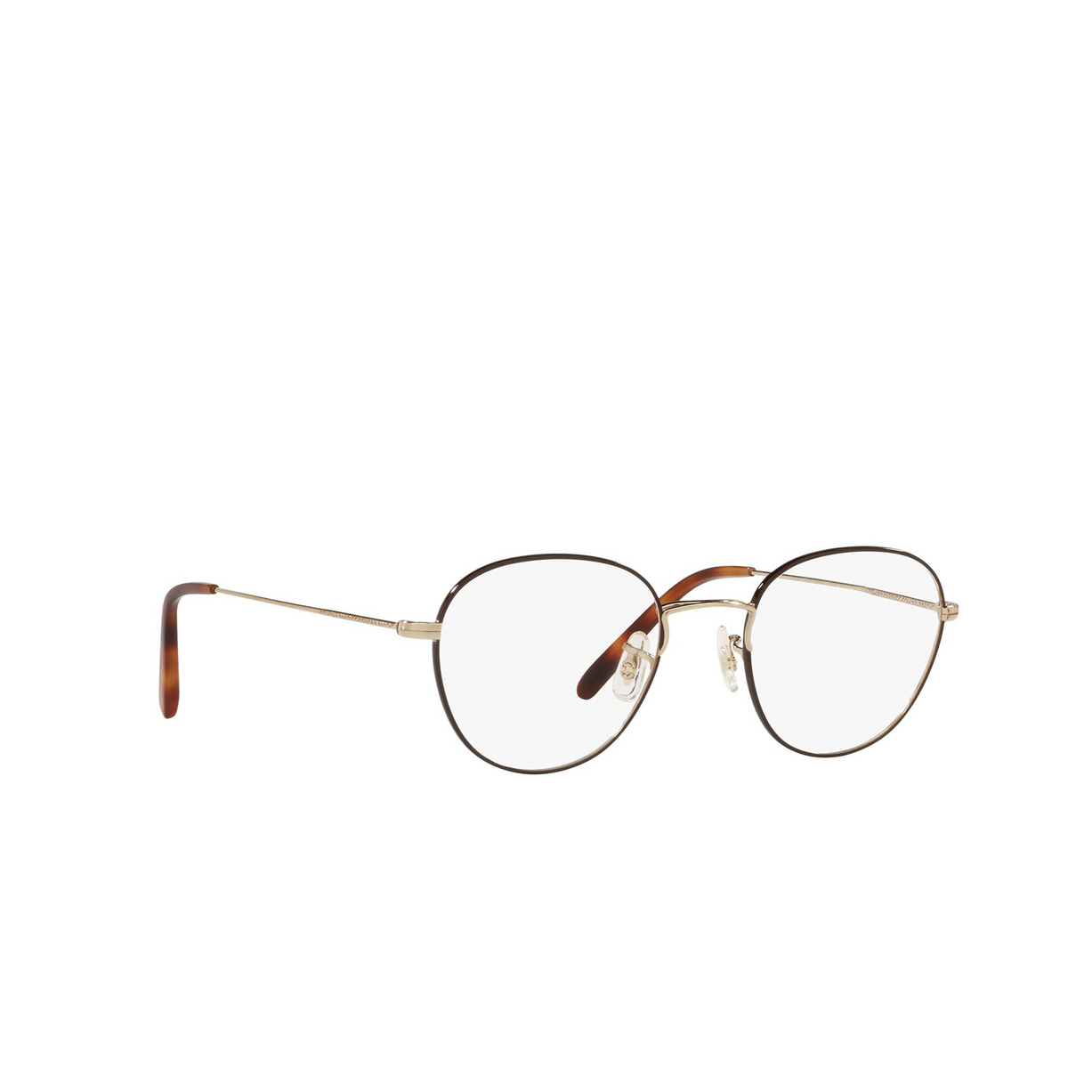 Oliver Peoples® Round Eyeglasses: Piercy OV1281 color Brushed Gold / Tortoise 5316 - three-quarters view.
