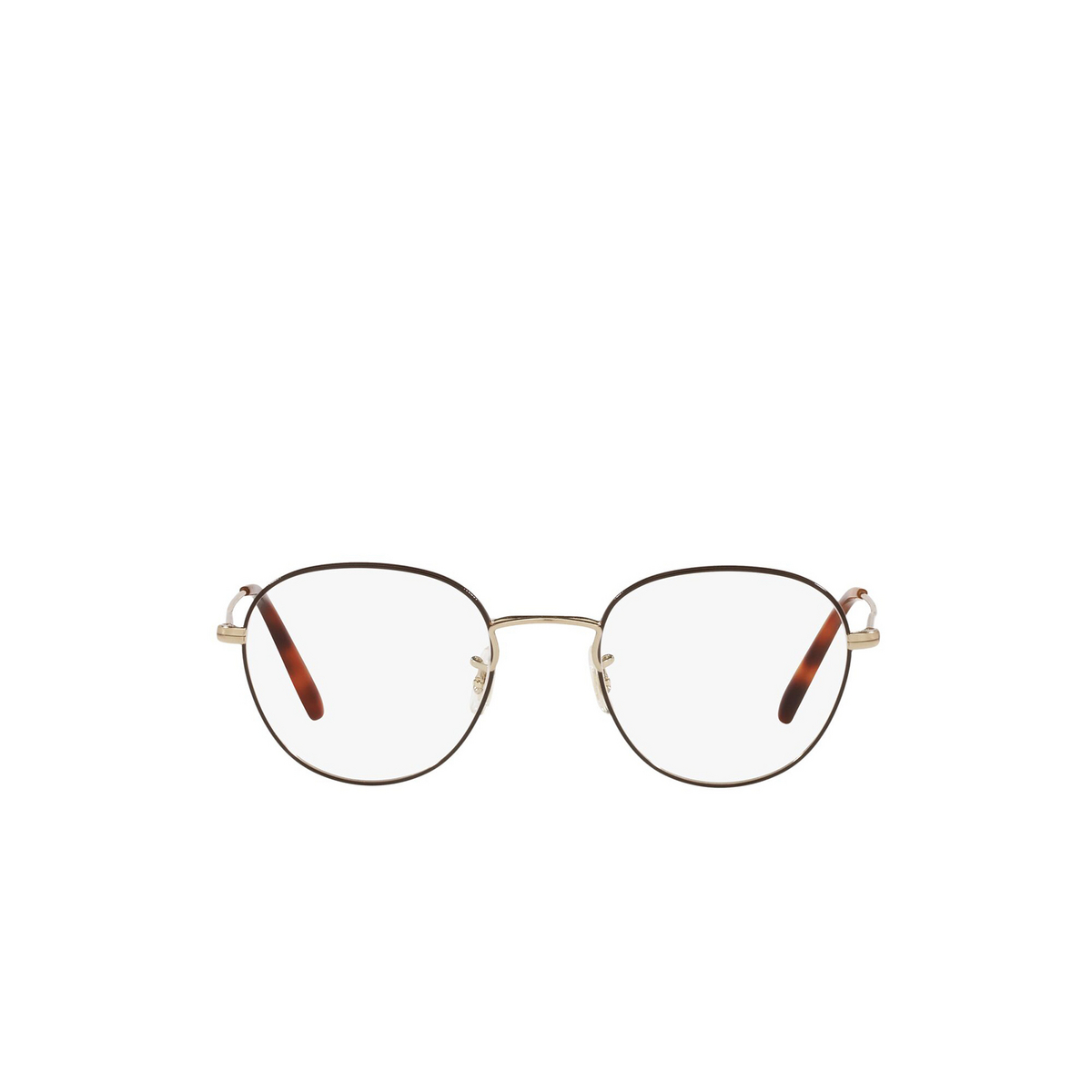 Oliver Peoples® Round Eyeglasses: Piercy OV1281 color Brushed Gold / Tortoise 5316 - front view.