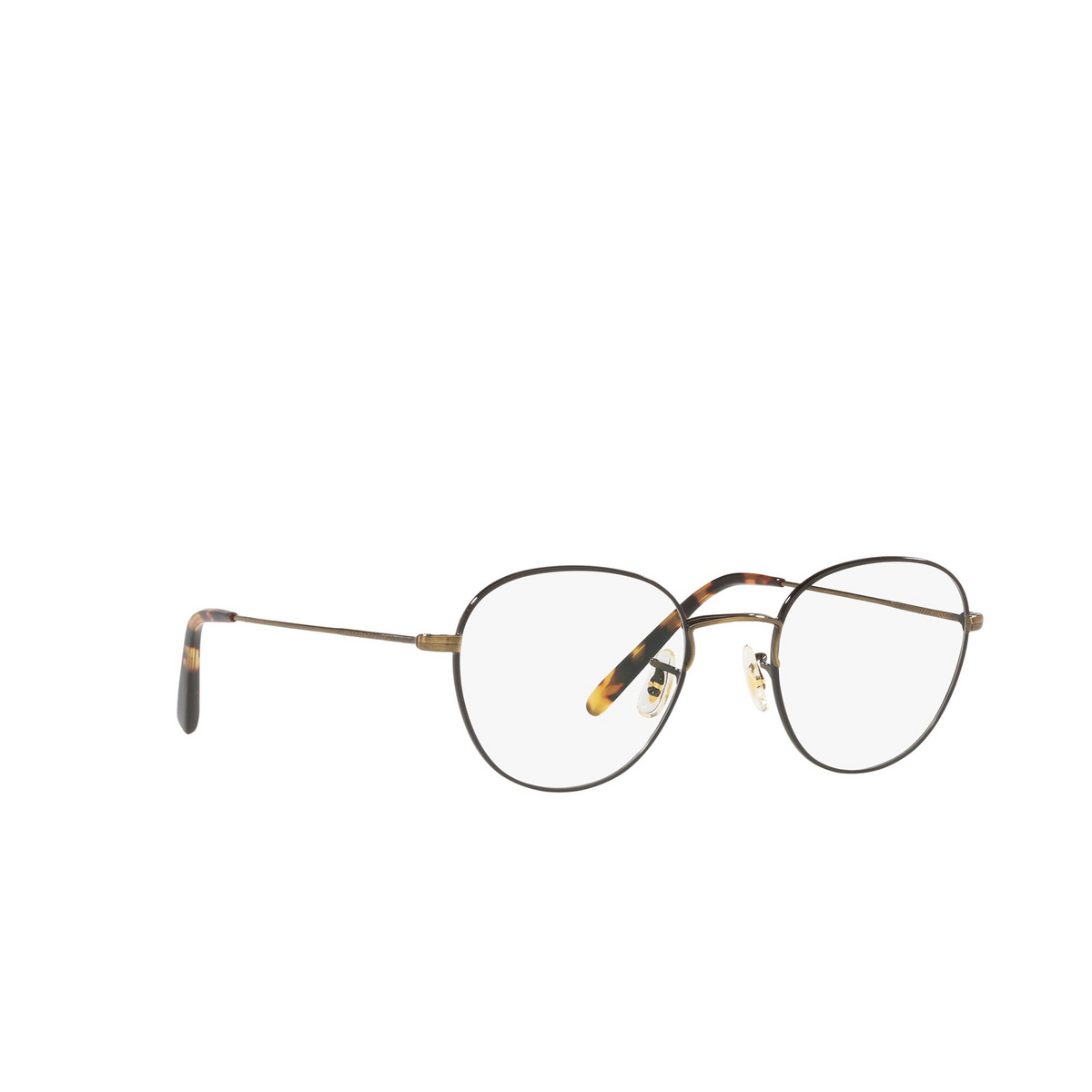 Oliver Peoples® Round Eyeglasses: Piercy OV1281 color Antique Gold / Black 5317 - three-quarters view.