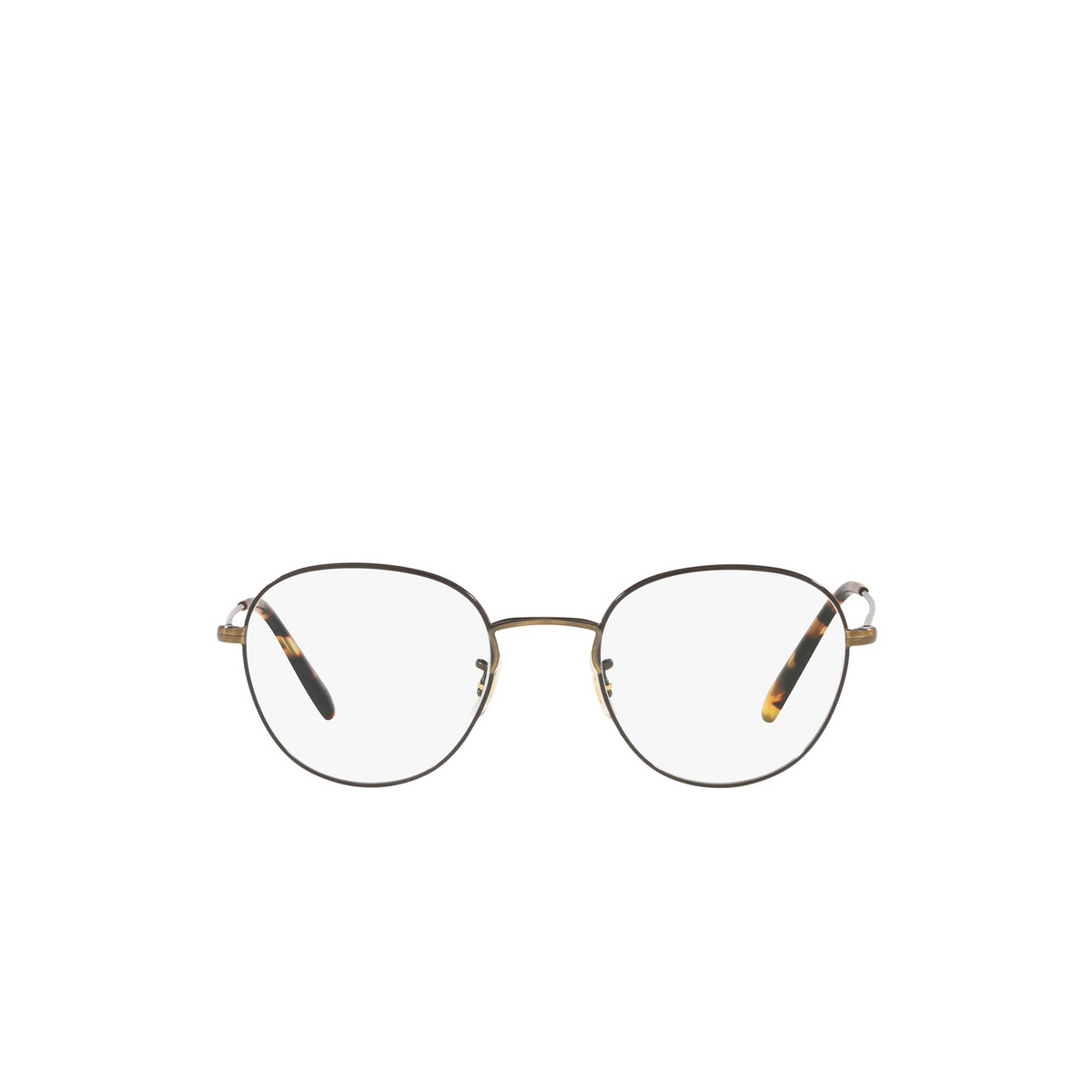 Oliver Peoples® Round Eyeglasses: Piercy OV1281 color Antique Gold / Black 5317 - front view.