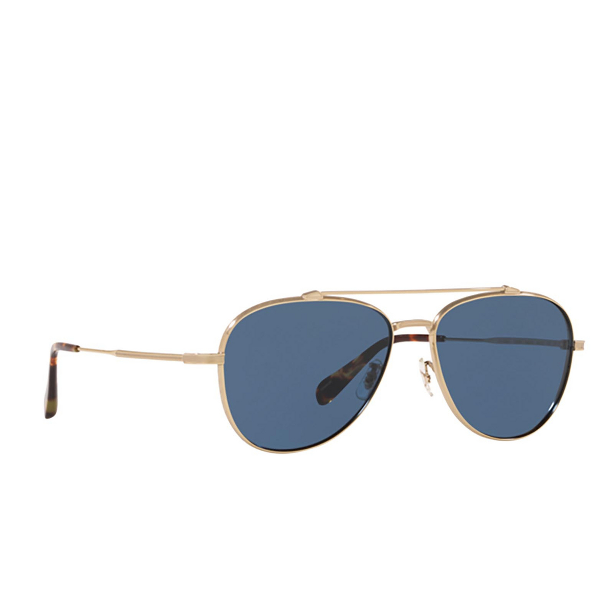 Oliver Peoples® Aviator Sunglasses: Rikson OV1266ST color Soft Gold 503580 - three-quarters view.