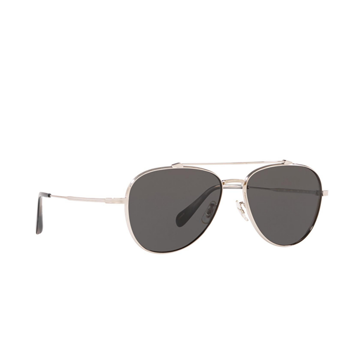 Oliver Peoples® Aviator Sunglasses: Rikson OV1266ST color Silver 503687 - three-quarters view.