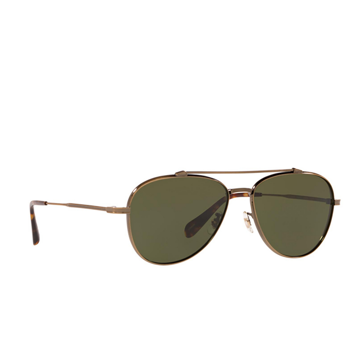 Oliver Peoples® Aviator Sunglasses: Rikson OV1266ST color Antique Gold 528471 - three-quarters view.