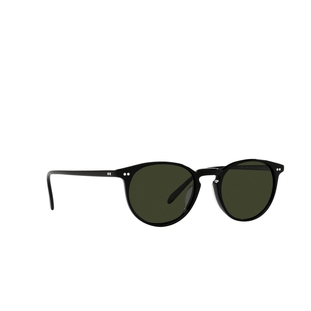 Oliver Peoples® Round Sunglasses: Riley Sun OV5004SU color Black 1005P1 - three-quarters view.