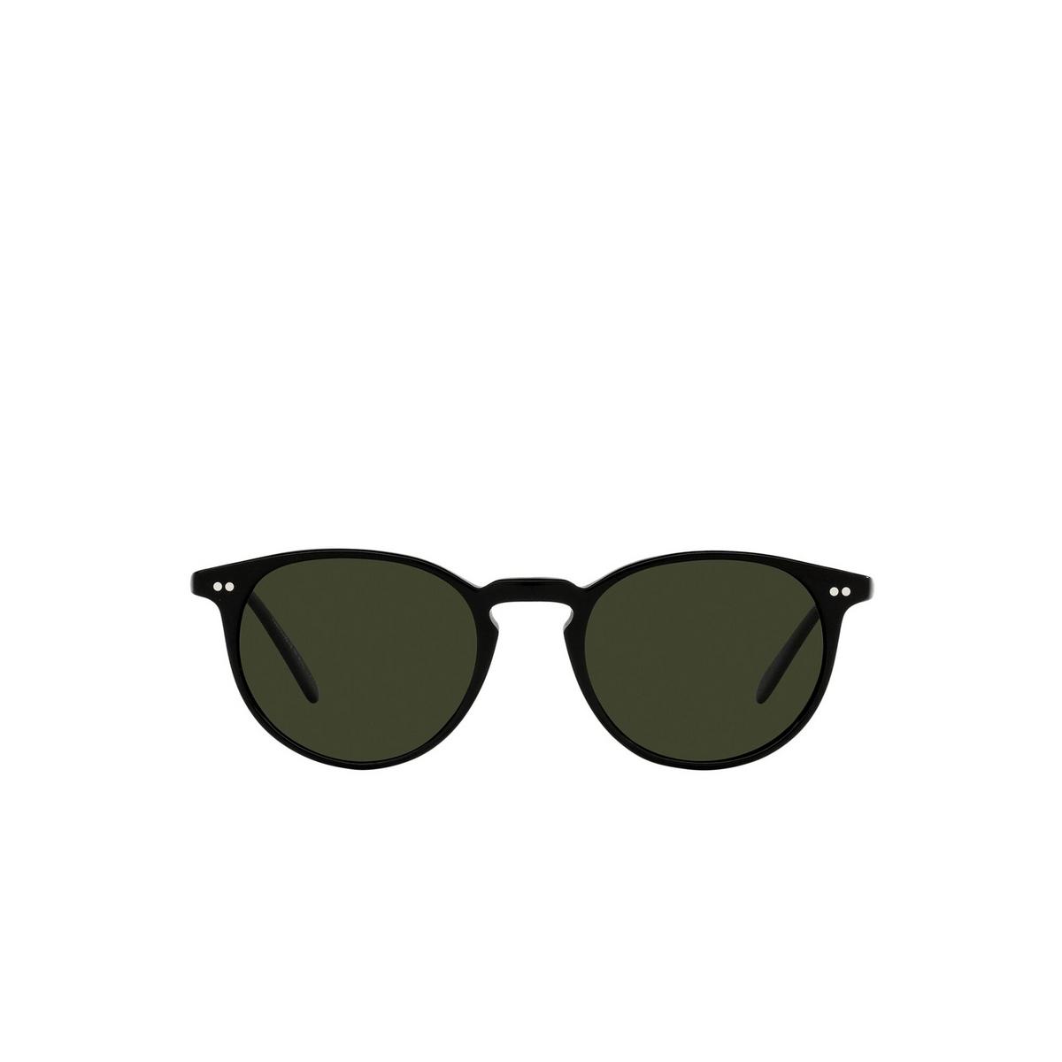 Oliver Peoples® Round Sunglasses: Riley Sun OV5004SU color Black 1005P1 - front view.
