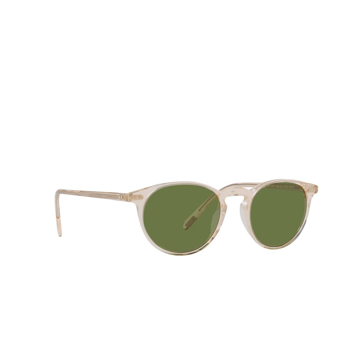 Oliver Peoples® Round Sunglasses: Riley Sun OV5004SU color Buff 109452 - three-quarters view.