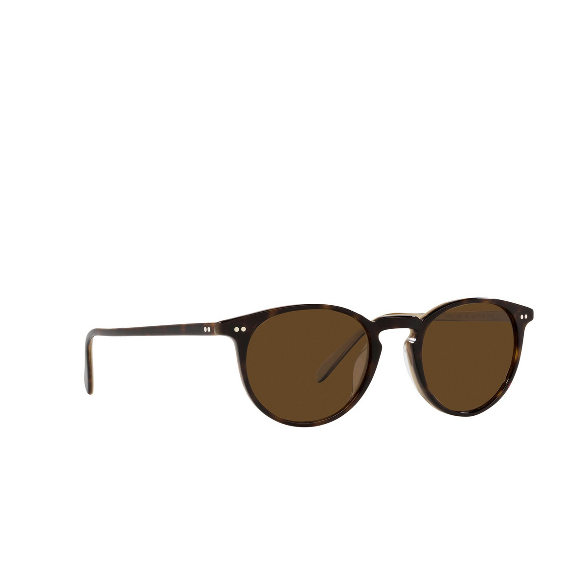 Oliver Peoples® Round Sunglasses: Riley Sun OV5004SU color 362 / Horn 166657 - three-quarters view.