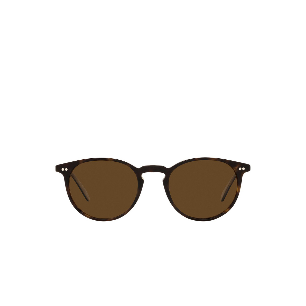 Oliver Peoples® Round Sunglasses: Riley Sun OV5004SU color 362 / Horn 166657 - front view.