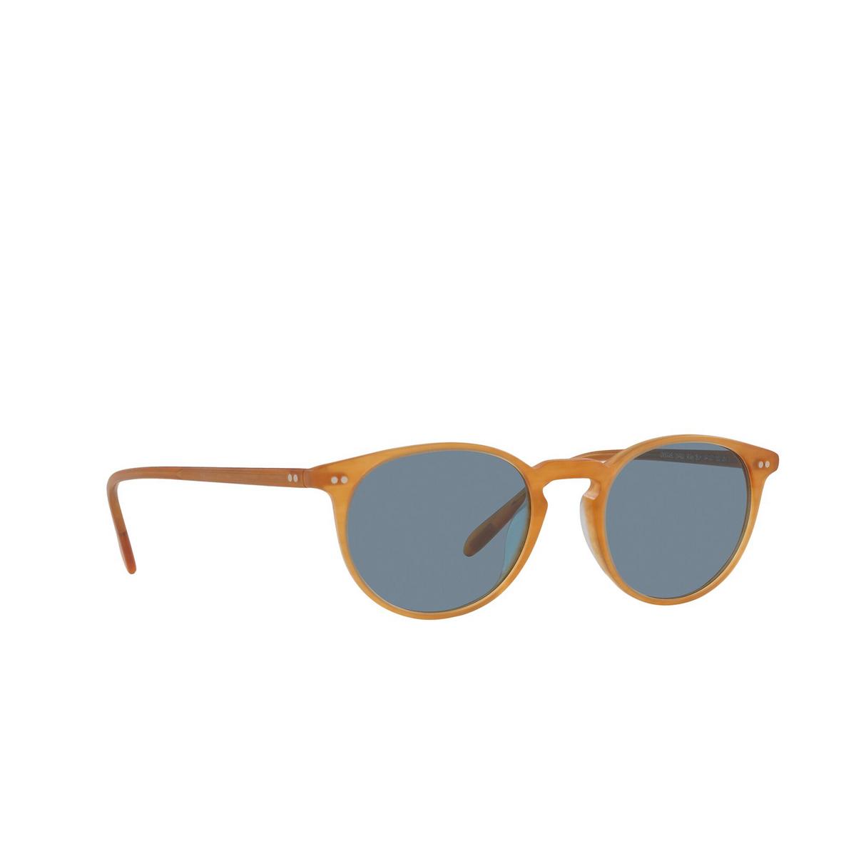Oliver Peoples® Round Sunglasses: Riley Sun OV5004SU color Semi Matte Amber Tortoise 169956 - three-quarters view.