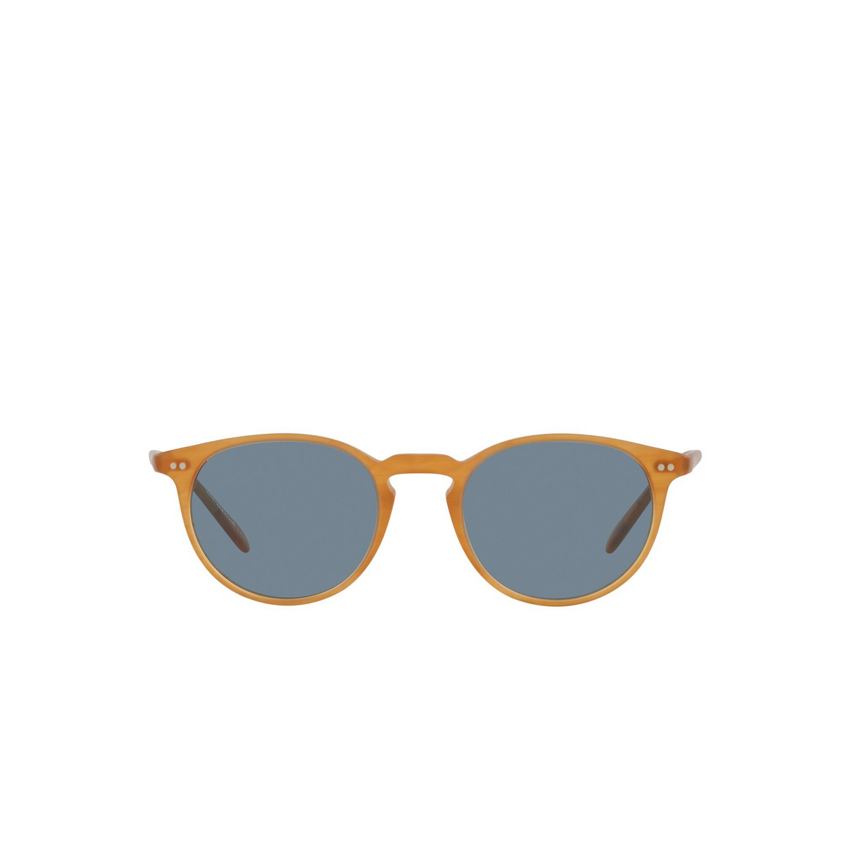 Oliver Peoples® Round Sunglasses: Riley Sun OV5004SU color Semi Matte Amber Tortoise 169956 - front view.