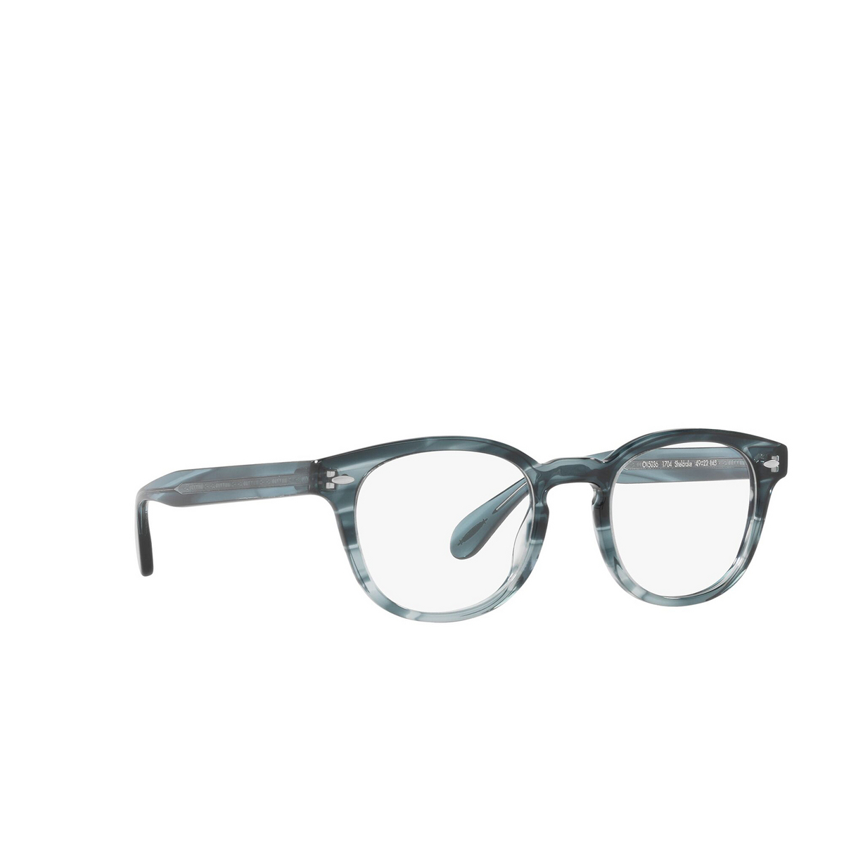 Oliver Peoples® Square Eyeglasses: Sheldrake OV5036 color Washed Lapis 1704 - three-quarters view.