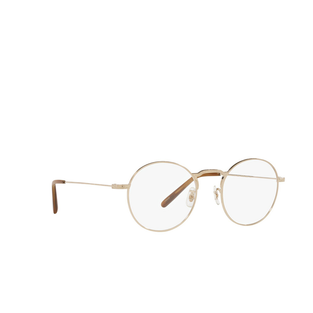 Oliver Peoples® Round Eyeglasses: Weslie OV1282T color White Gold 5292 - three-quarters view.