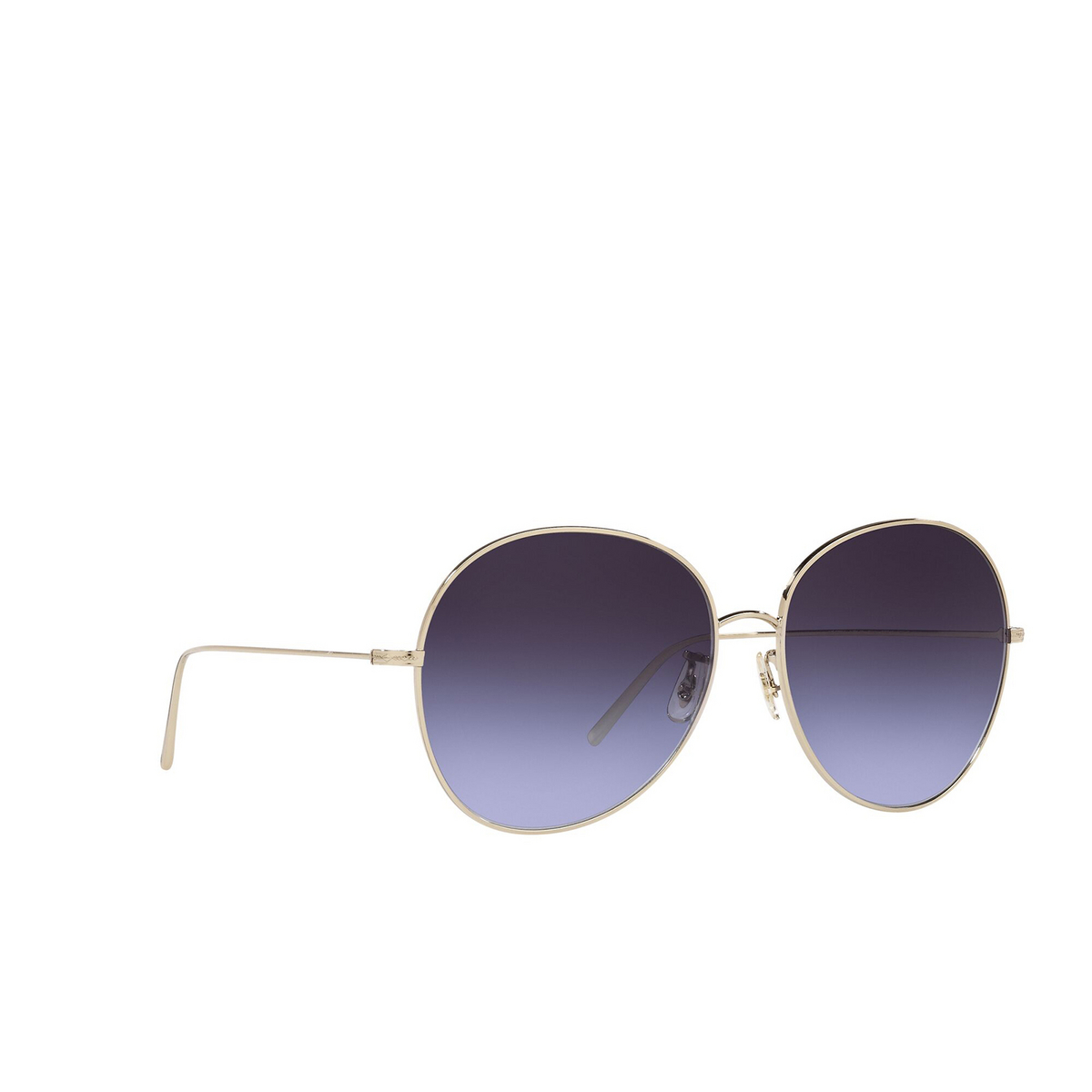 Oliver Peoples® Butterfly Sunglasses: Ysela OV1289S color Soft Gold 503579 - three-quarters view.
