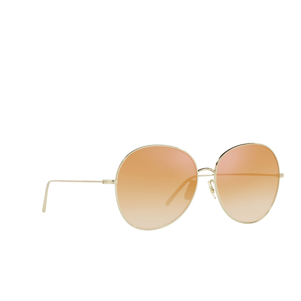 Oliver Peoples® Butterfly Sunglasses: Ysela OV1289S color Soft Gold 50357K - three-quarters view.