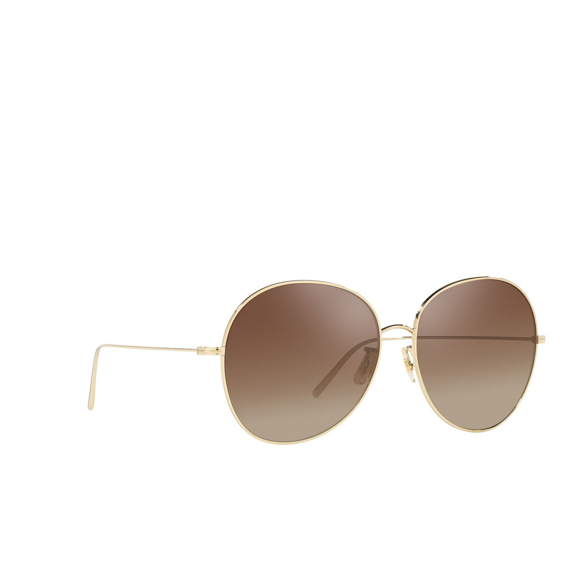 Oliver Peoples® Butterfly Sunglasses: Ysela OV1289S color Soft Gold 5035Q1 - three-quarters view.