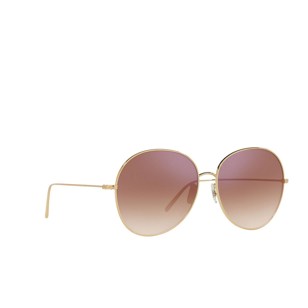 Oliver Peoples® Butterfly Sunglasses: Ysela OV1289S color Rose Gold 50373I - three-quarters view.