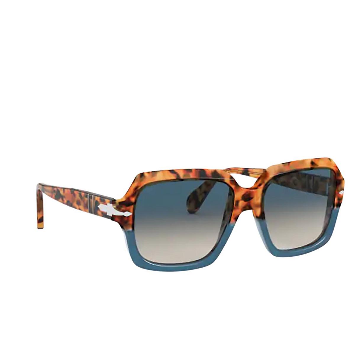 Persol® Square Sunglasses: PO0581S color Brown Tortoise & Opal Blue 112032 - three-quarters view.