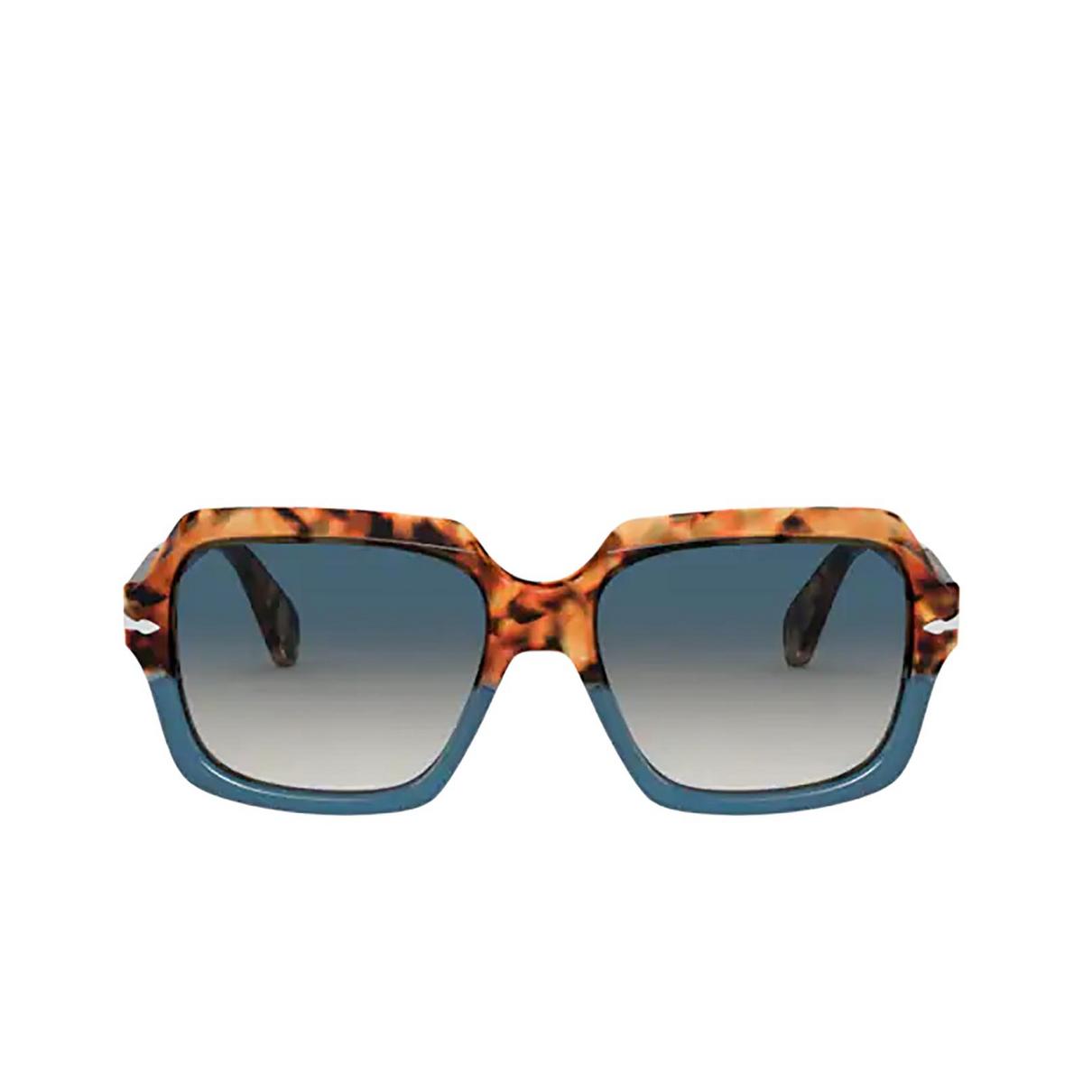 Persol® Square Sunglasses: PO0581S color Brown Tortoise & Opal Blue 112032 - front view.