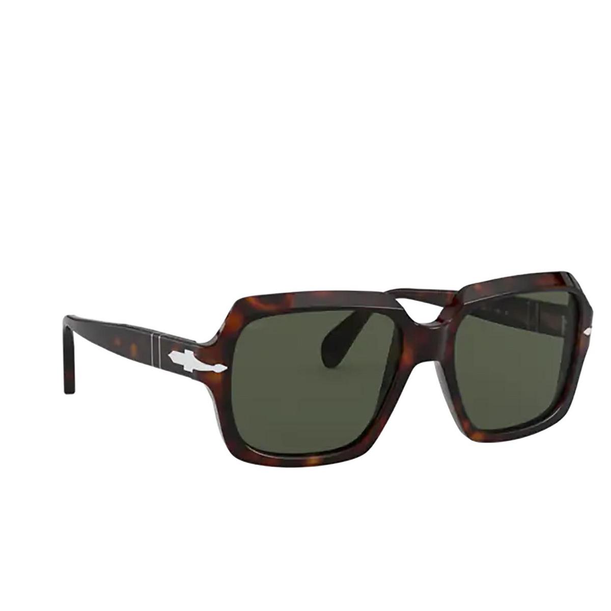 Persol® Square Sunglasses: PO0581S color Havana 24/31 - three-quarters view.