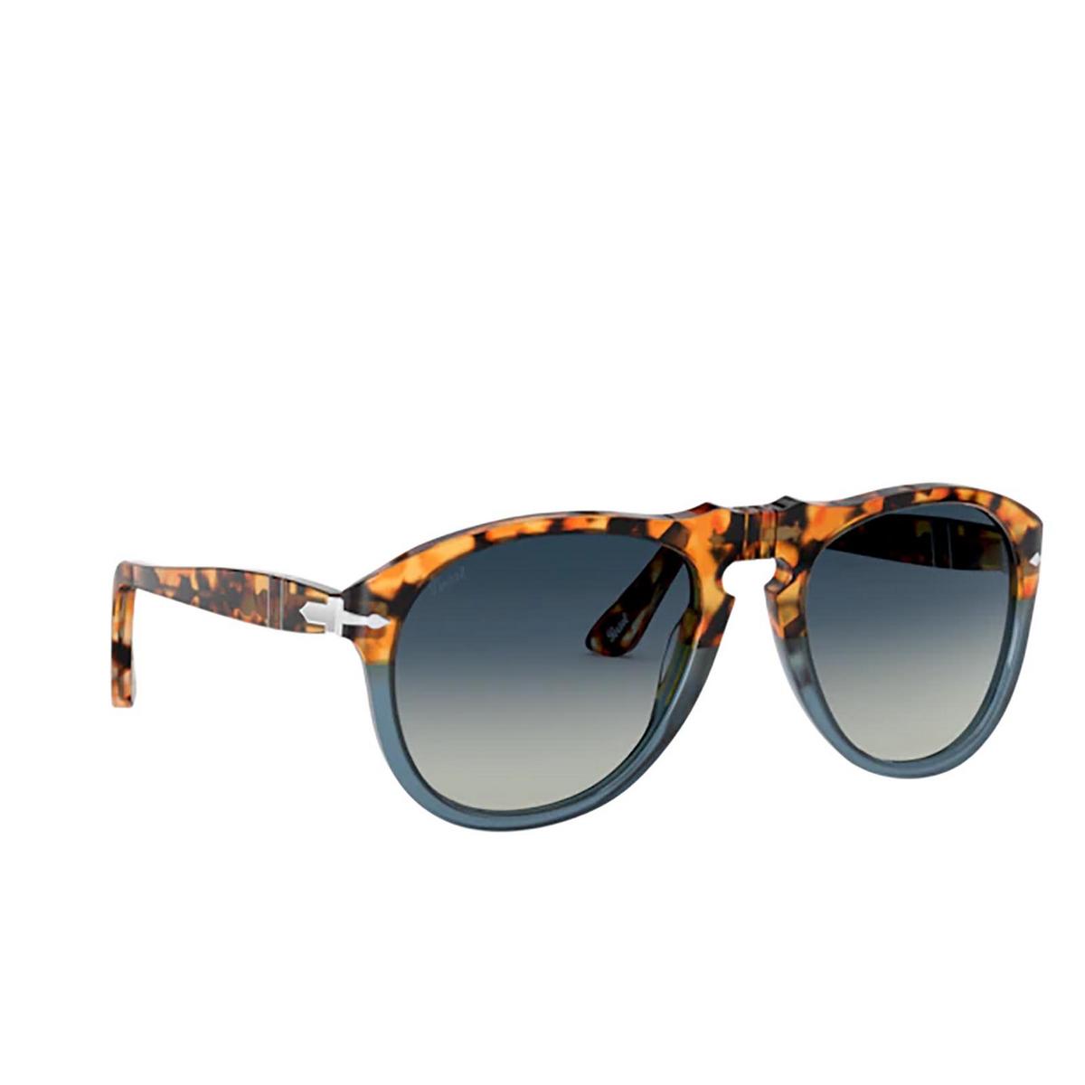 Persol® Aviator Sunglasses: PO0649 color Brown Tortoise & Opal Blue 112032 - three-quarters view.