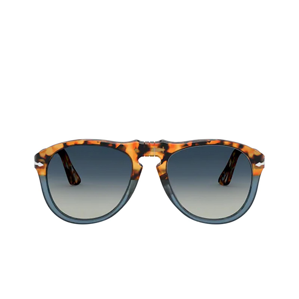 Persol® Aviator Sunglasses: PO0649 color Brown Tortoise & Opal Blue 112032 - front view.