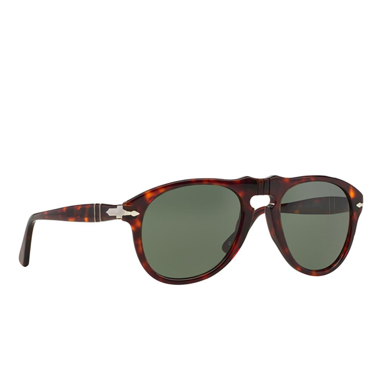 Persol® Aviator Sunglasses: PO0649 color Havana 24/31 - three-quarters view.