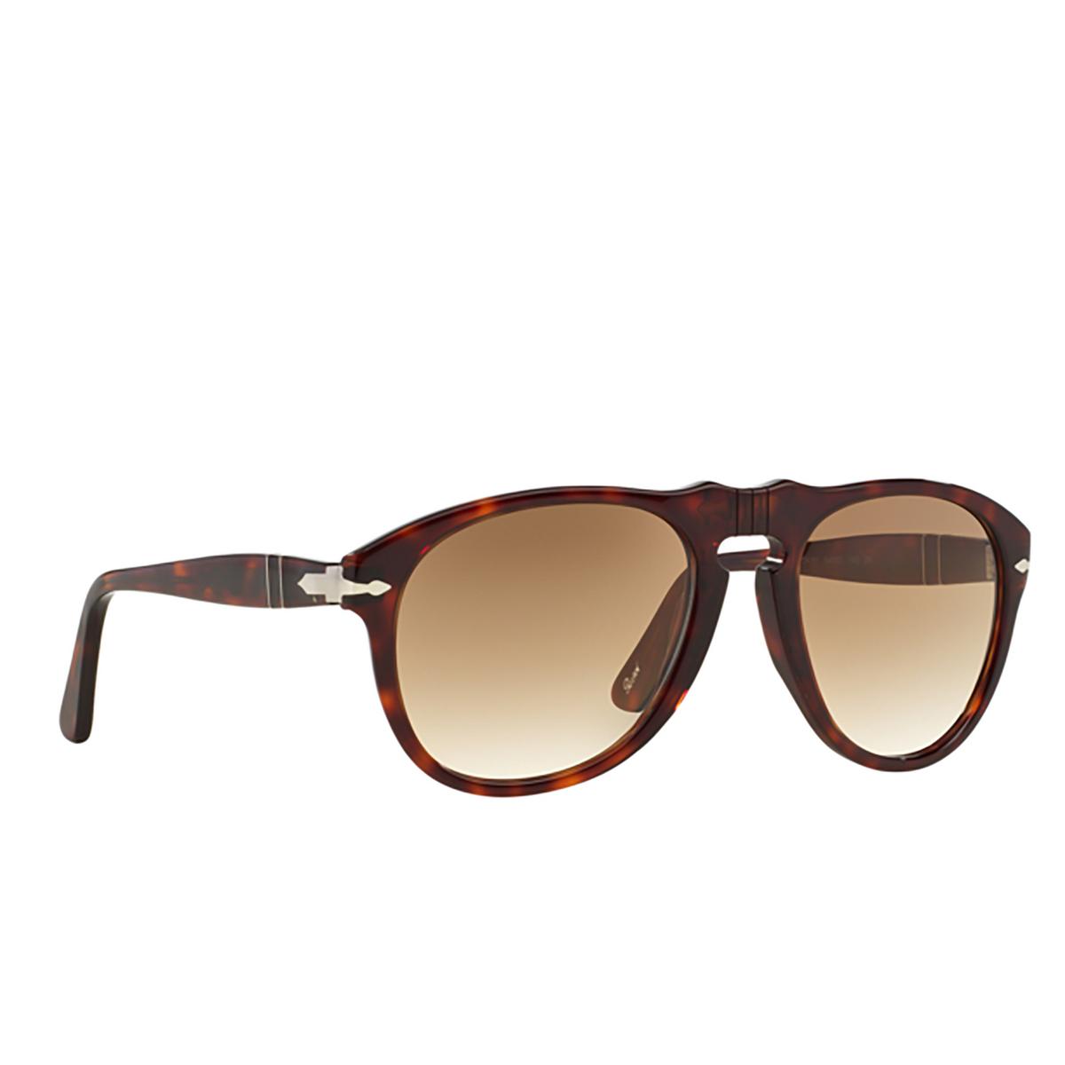 Persol® Aviator Sunglasses: PO0649 color Havana 24/51 - three-quarters view.