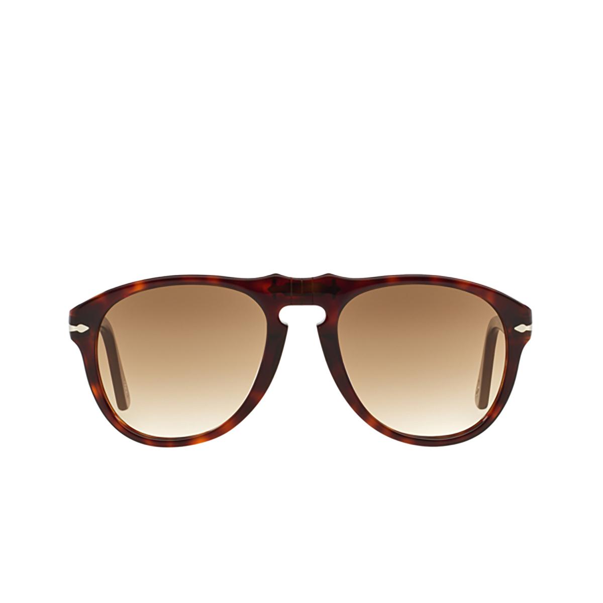 Persol® Aviator Sunglasses: PO0649 color Havana 24/51 - front view.