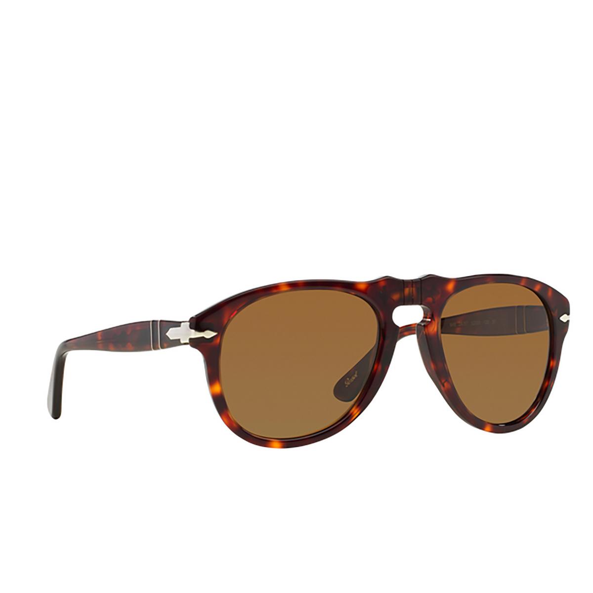 Persol® Aviator Sunglasses: PO0649 color Havana 24/57 - three-quarters view.