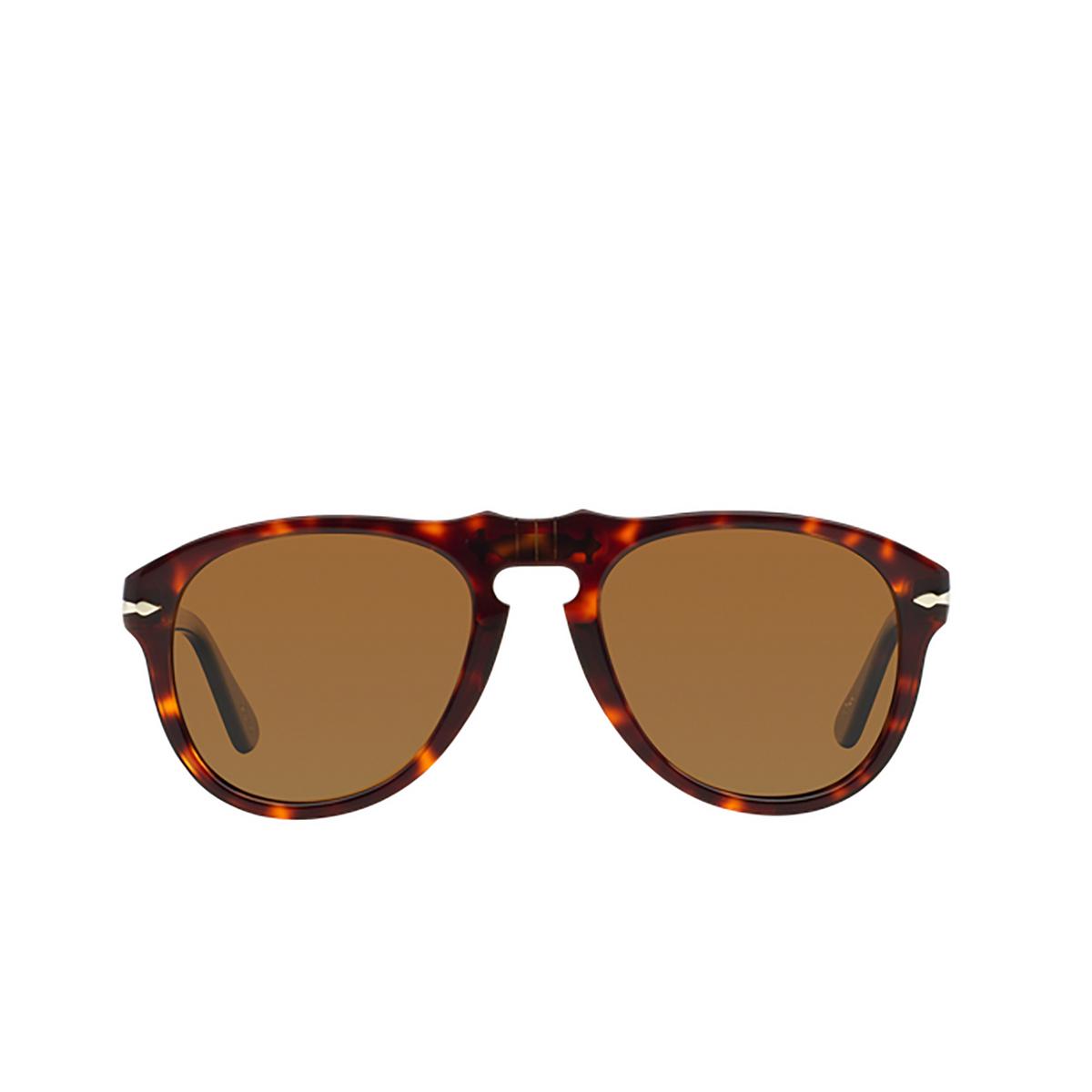 Persol® Aviator Sunglasses: PO0649 color Havana 24/57 - front view.