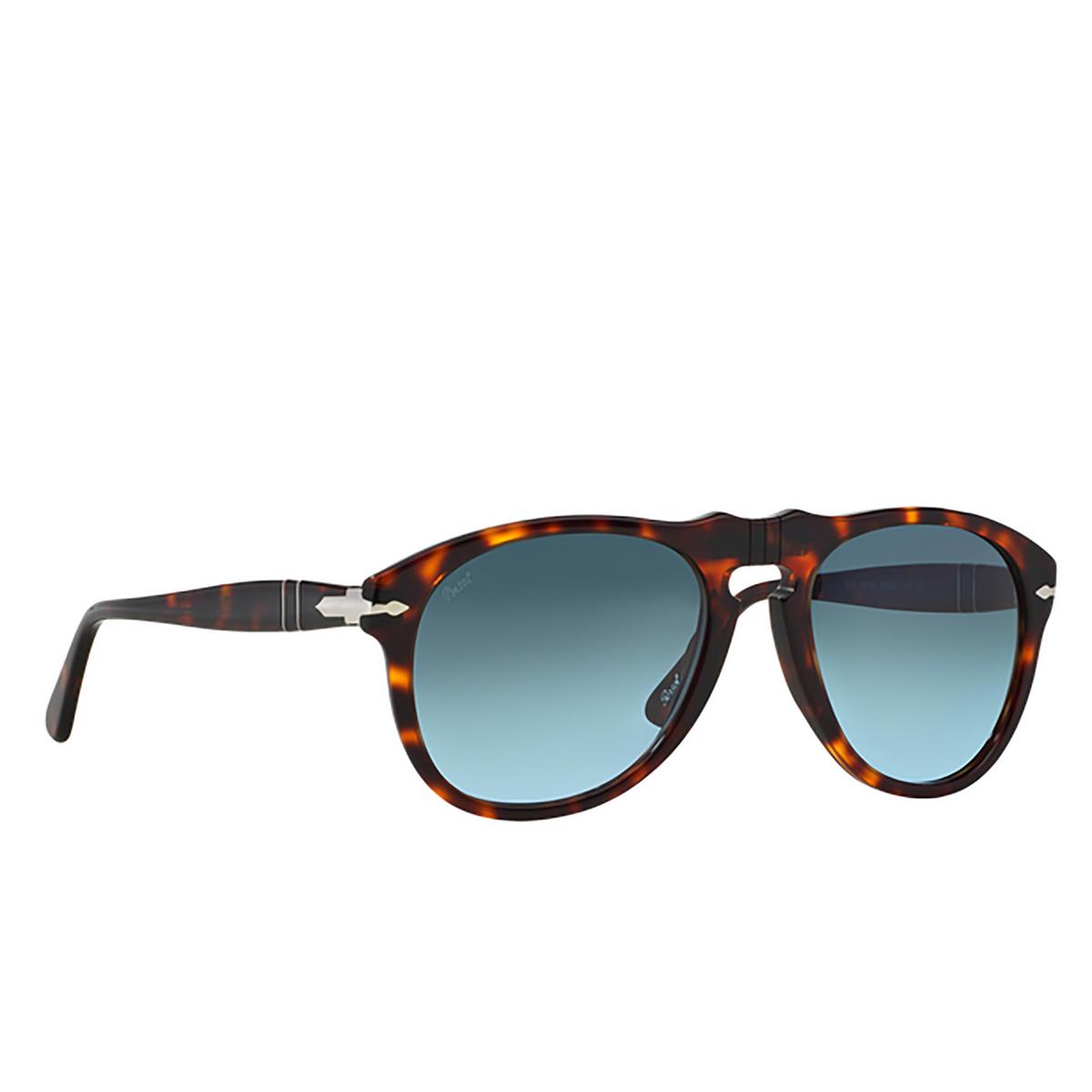 Persol® Aviator Sunglasses: PO0649 color Havana 24/86 - three-quarters view.