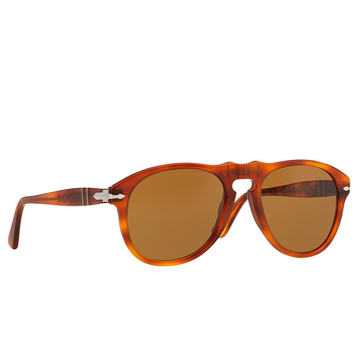 Persol® Aviator Sunglasses: PO0649 color Light Havana 96/33 - three-quarters view.