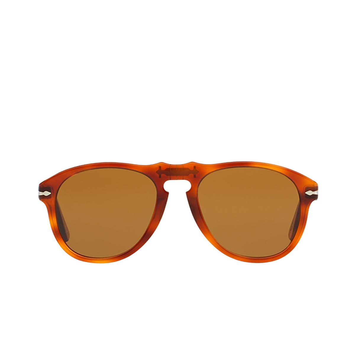 Persol® Aviator Sunglasses: PO0649 color Light Havana 96/33 - front view.