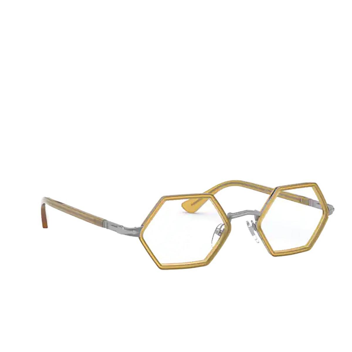 Persol® Irregular Eyeglasses: PO2472V color Gunmetal & Honey 1093 - three-quarters view.