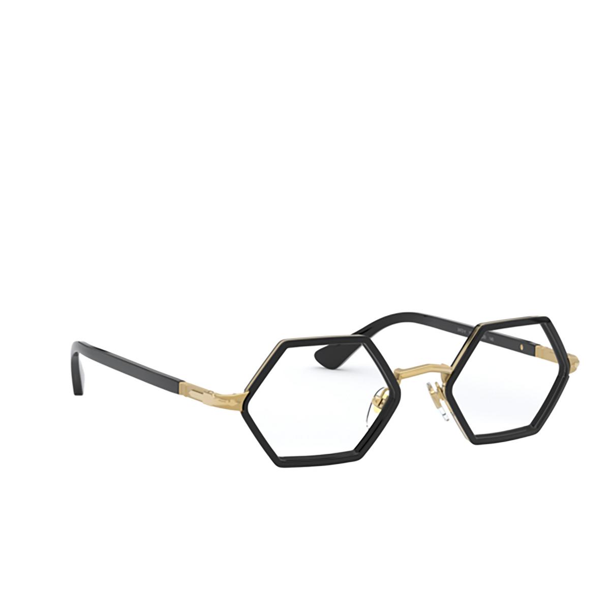 Persol® Irregular Eyeglasses: PO2472V color Gold & Black 1097 - three-quarters view.