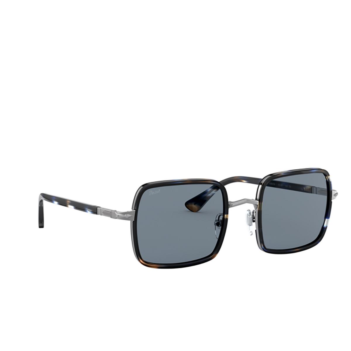 Persol® Square Sunglasses: PO2475S color Gunmetal & Blue Grid 109956 - three-quarters view.