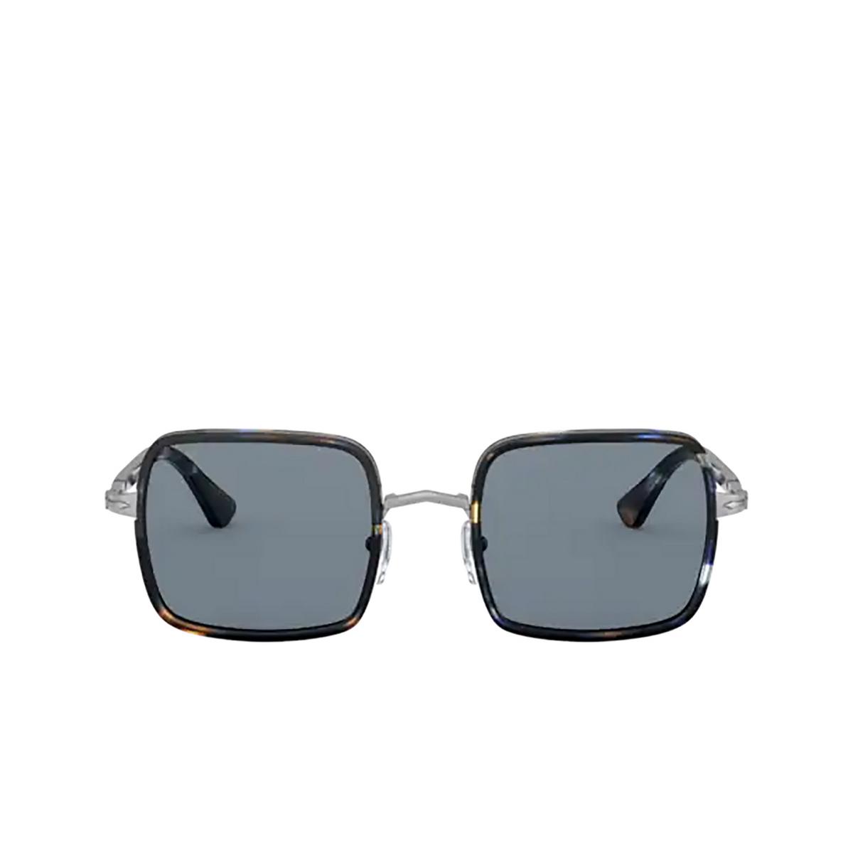 Persol® Square Sunglasses: PO2475S color Gunmetal & Blue Grid 109956 - front view.