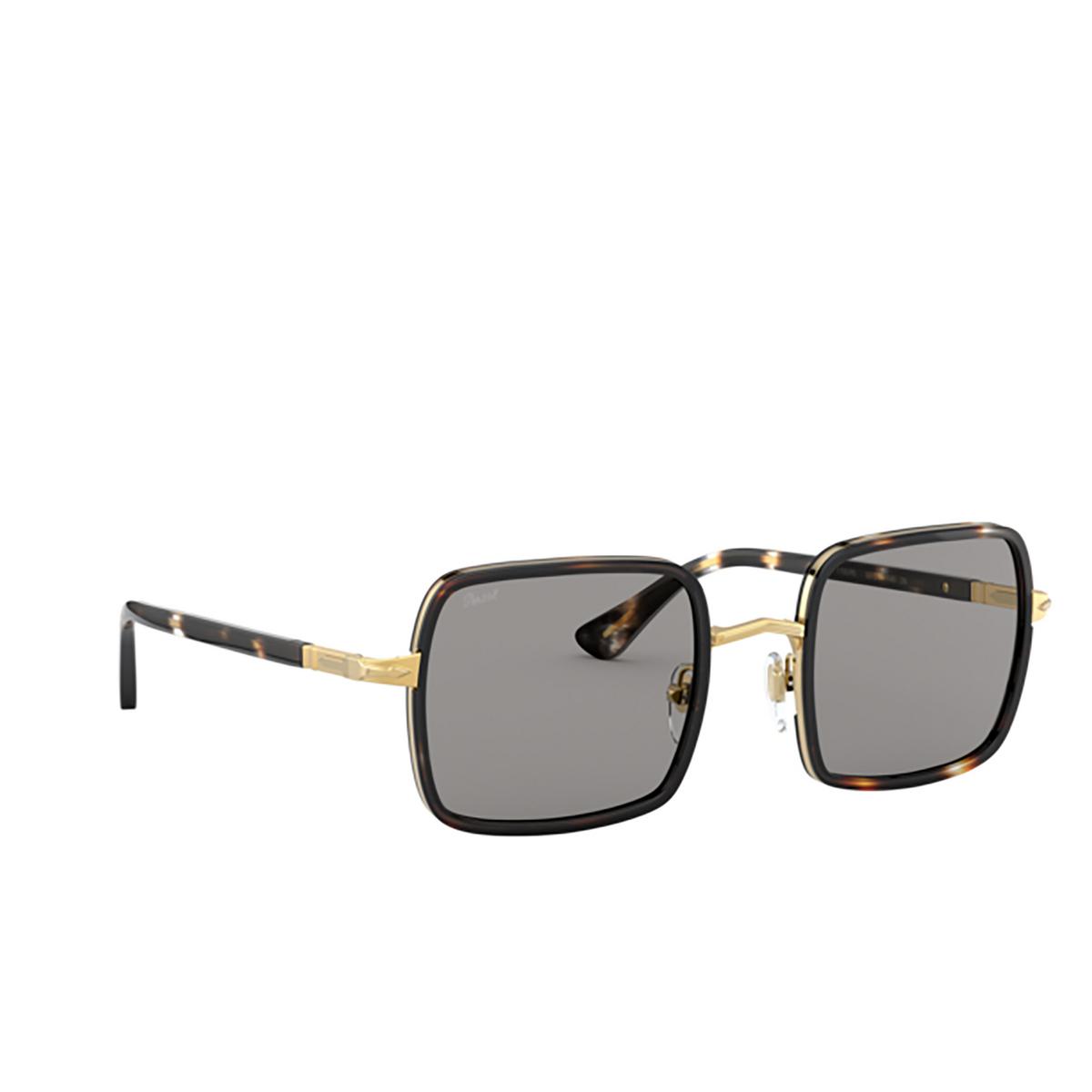 Persol® Square Sunglasses: PO2475S color Gold & Striped Browne & Smoke 1100R5 - three-quarters view.