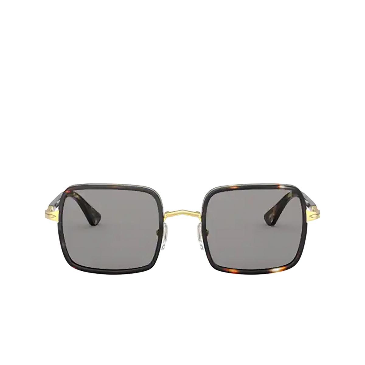 Persol® Square Sunglasses: PO2475S color Gold & Striped Browne & Smoke 1100R5 - front view.