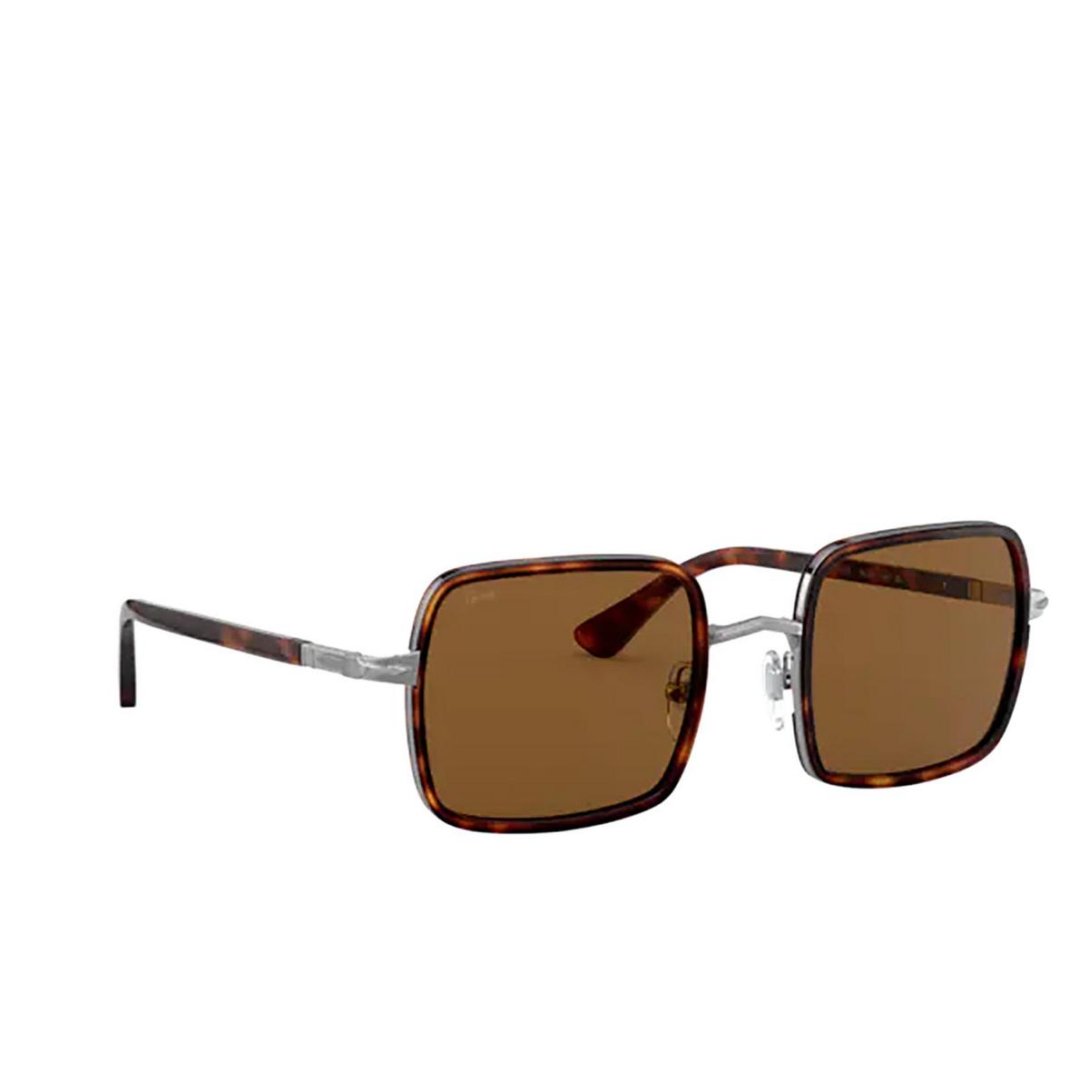 Persol® Square Sunglasses: PO2475S color Gunmetal & Havana 513/33 - three-quarters view.