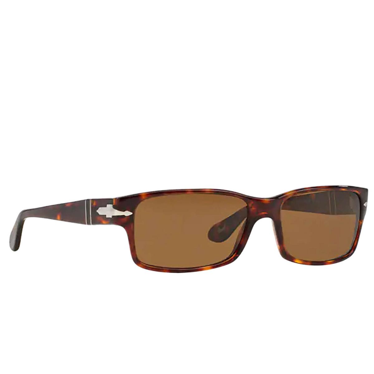 Persol® Rectangle Sunglasses: PO2803S color Havana 24/57 - three-quarters view.