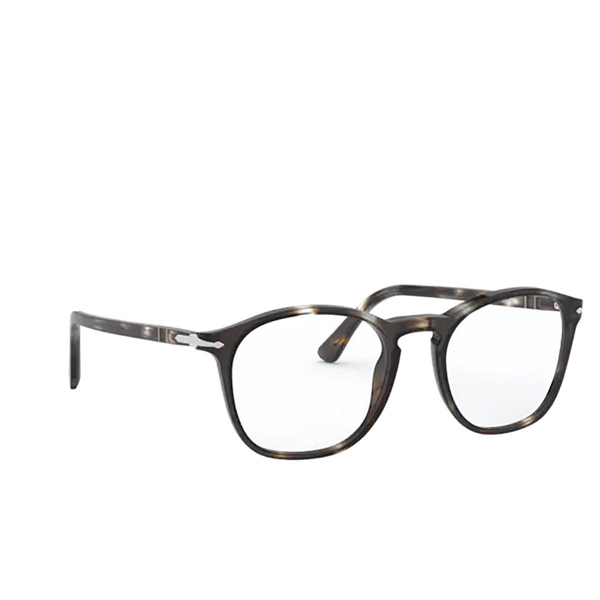 Persol® Square Eyeglasses: PO3007VM color Striped Brown & Smoke 1124 - three-quarters view.