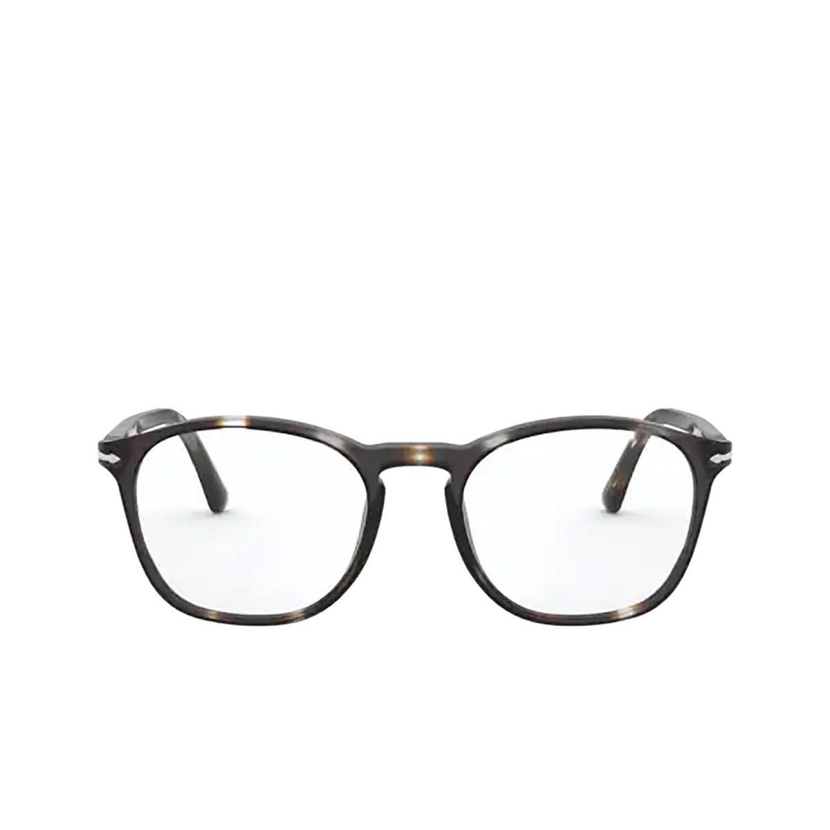Persol® Square Eyeglasses: PO3007VM color Striped Brown & Smoke 1124 - front view.