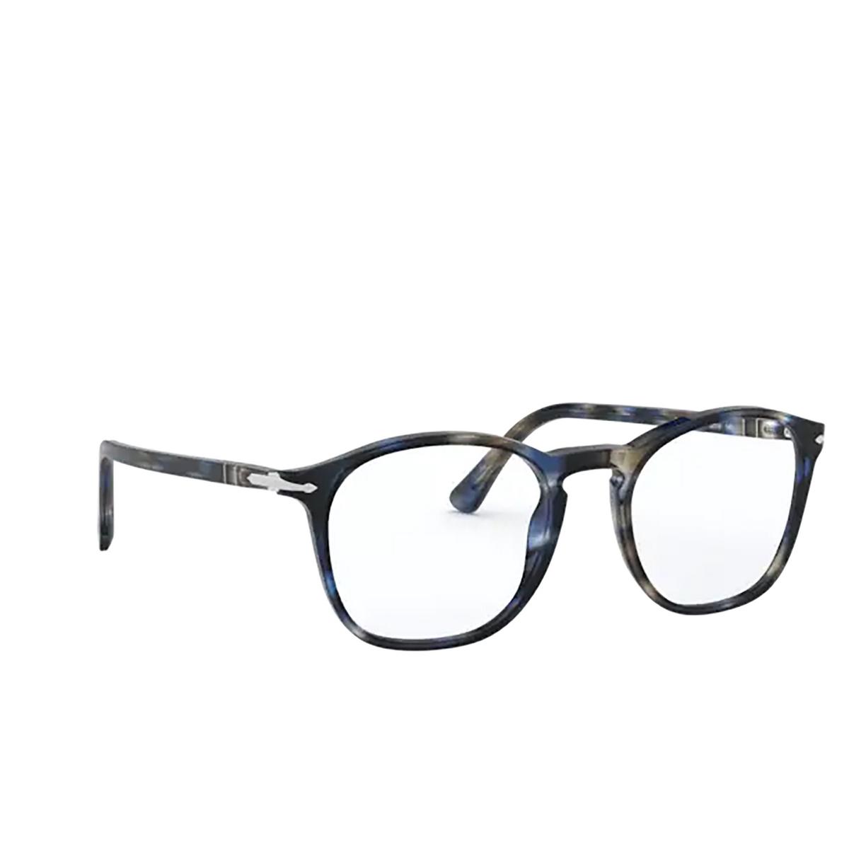 Persol® Square Eyeglasses: PO3007VM color Striped Blue & Grey 1126 - three-quarters view.