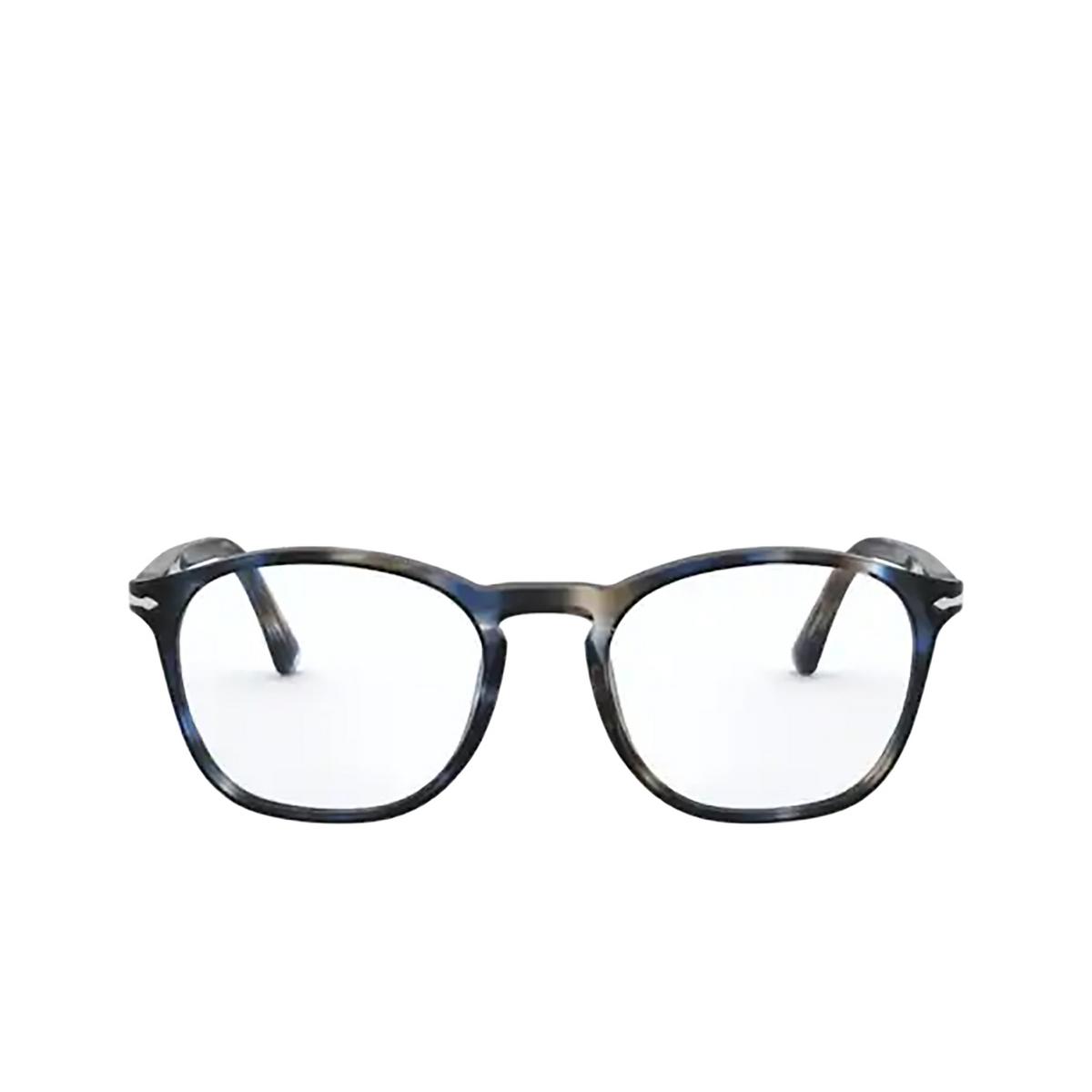 Persol® Square Eyeglasses: PO3007VM color Striped Blue & Grey 1126 - front view.