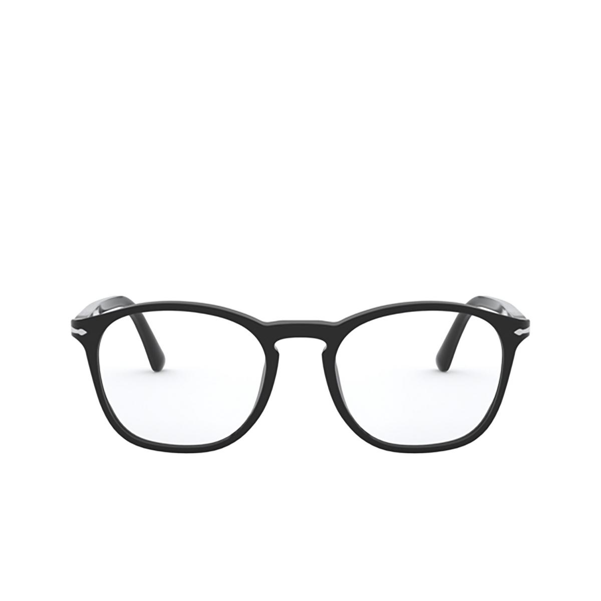 Persol® Square Eyeglasses: PO3007VM color Black 95 - front view.